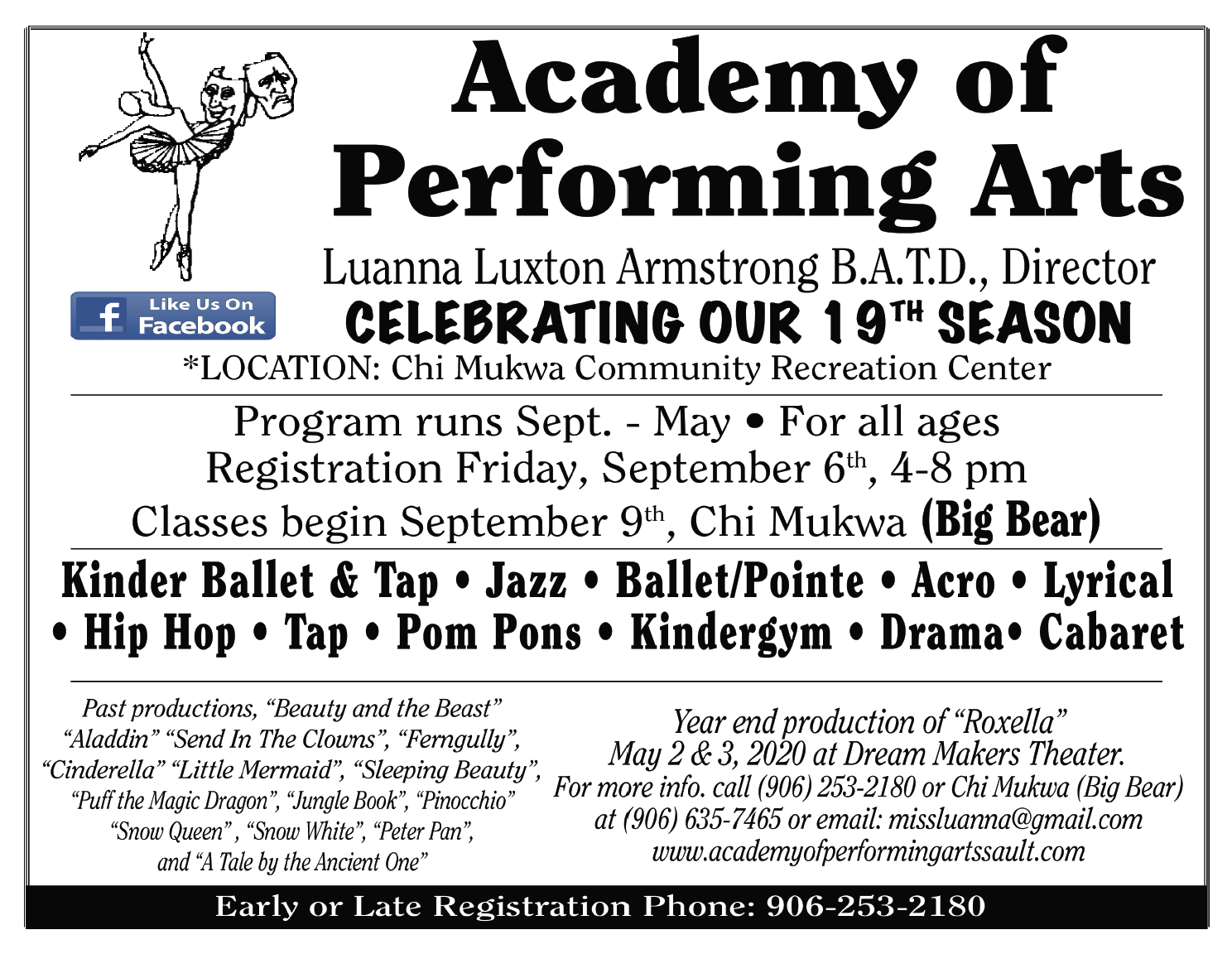 Academy of Performing Arts: Register Sep 6, 2019