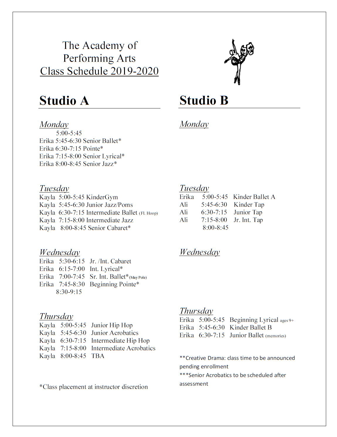 Click for a pdf of the class schedule.